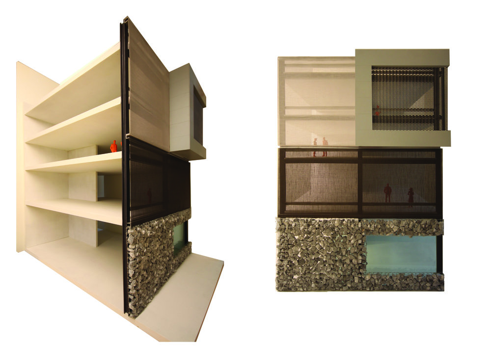 mock-up of the facade with the three distinct layers: stone, dark coloured mesh and light coloured mesh