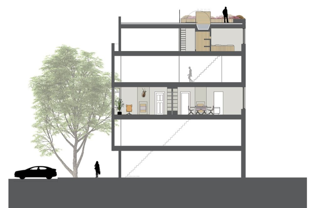 section of the apartment, loft and roofterrace