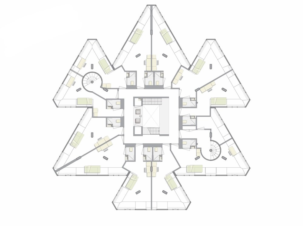 second floor plan, 11   individual rooms with bathroom