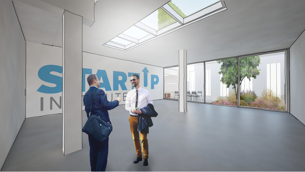the former garage is turned into a working area. A patio in the back gives light to the dark space but also serves as an infiltration area for rainwater
