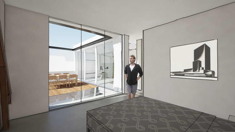 impression of the bedroom and roof terrace of the penthouse