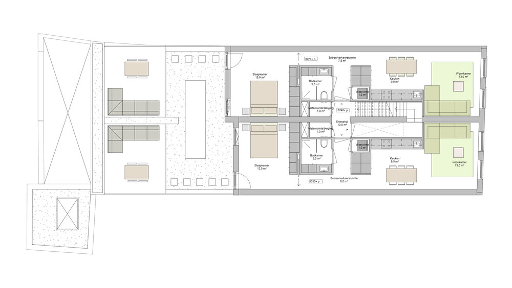 plan of the first floor, the two apartments