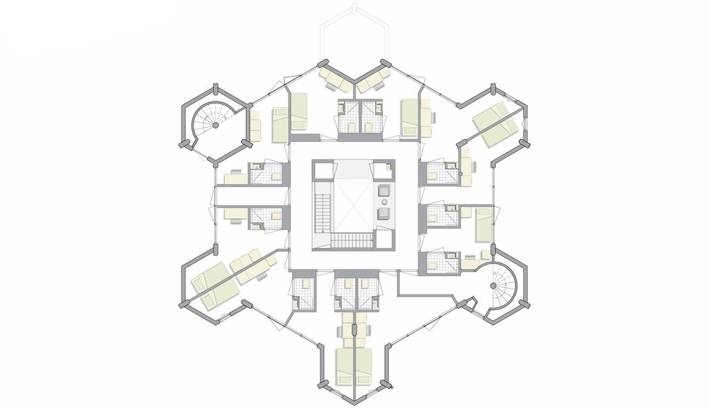first floor plan, 10 individual rooms with bathroom