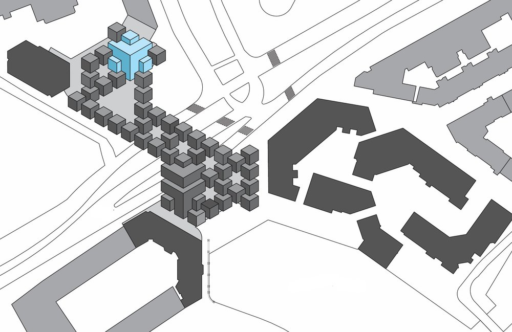 site plan of the world famous cube structure