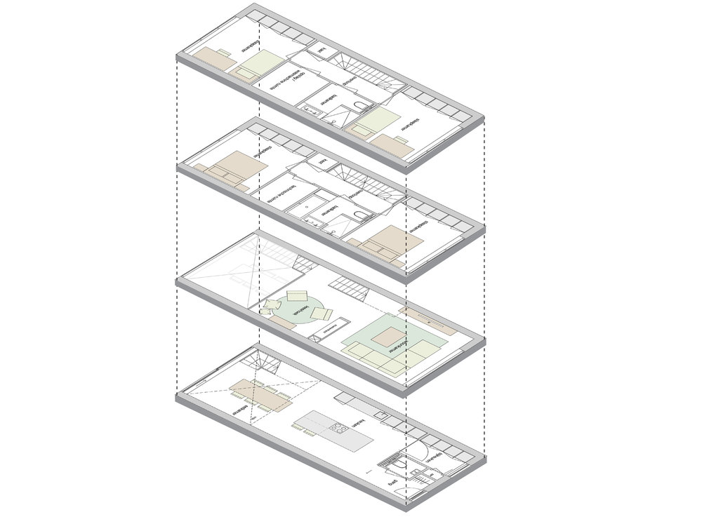 isometric view of the floor plans: showing the different functions of each floor