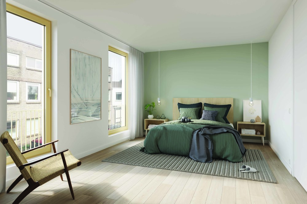 the multifunctional space on the first floor, arranged as a master bedroom