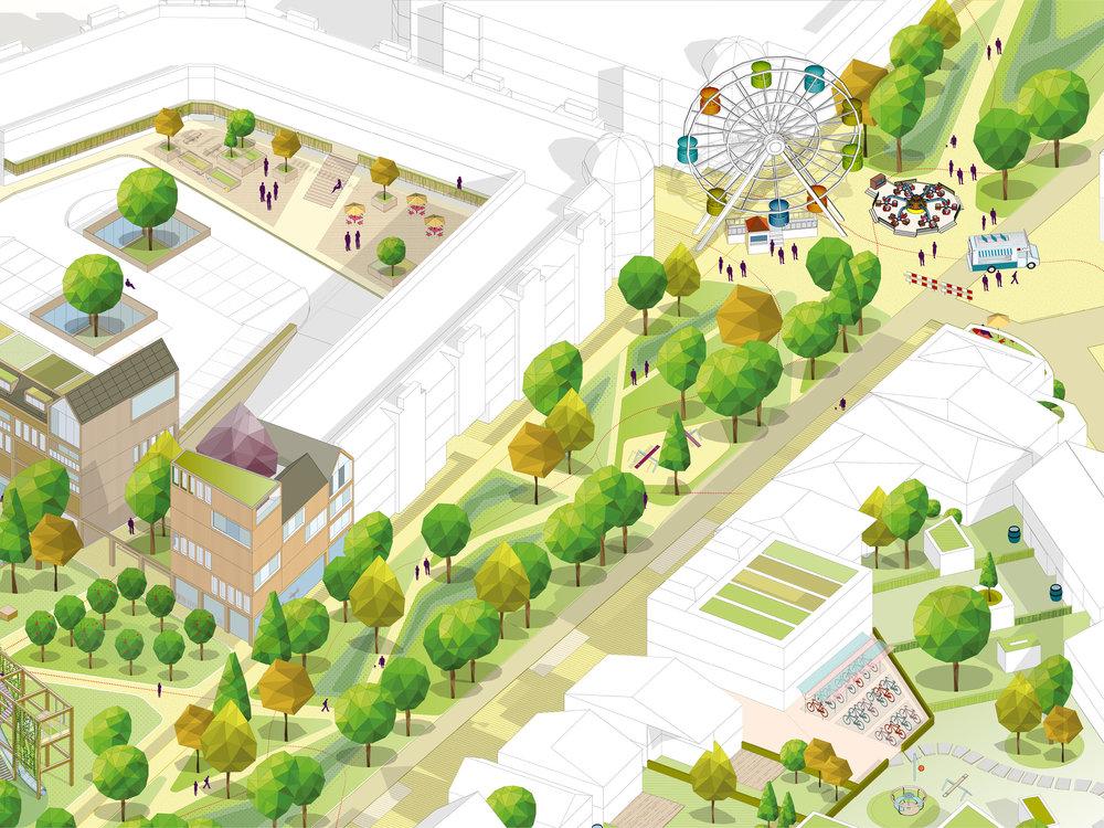 voorstel voor de transformatie van het Collegeplein in Weert: van parkeervlakte naar een aantrekkelijke groene ruimte die plek biedt aan nieuwe programmering