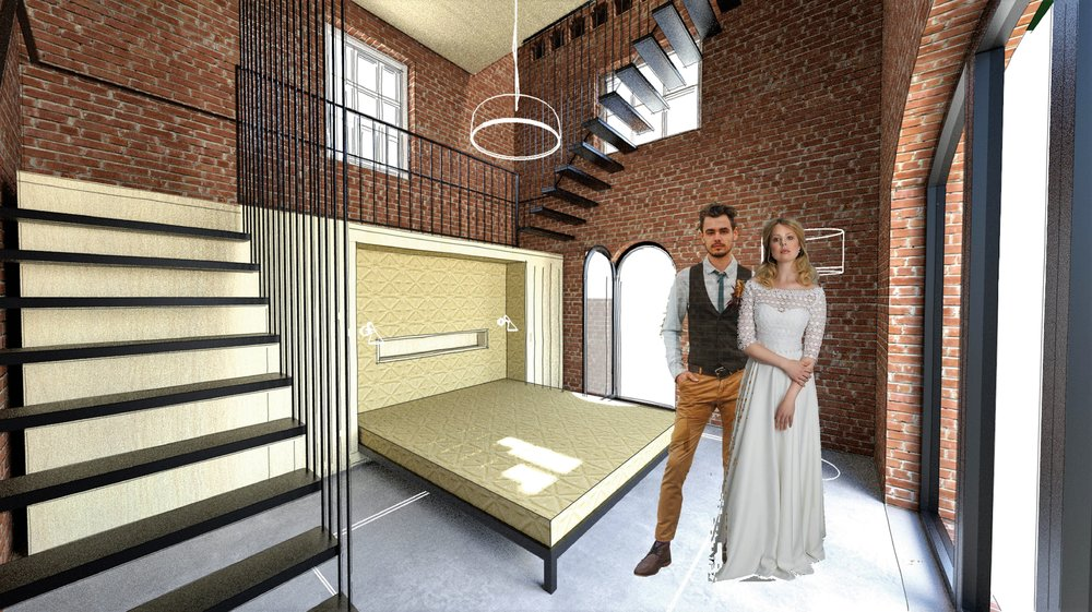 the bridal suite with the bed on the ground floor