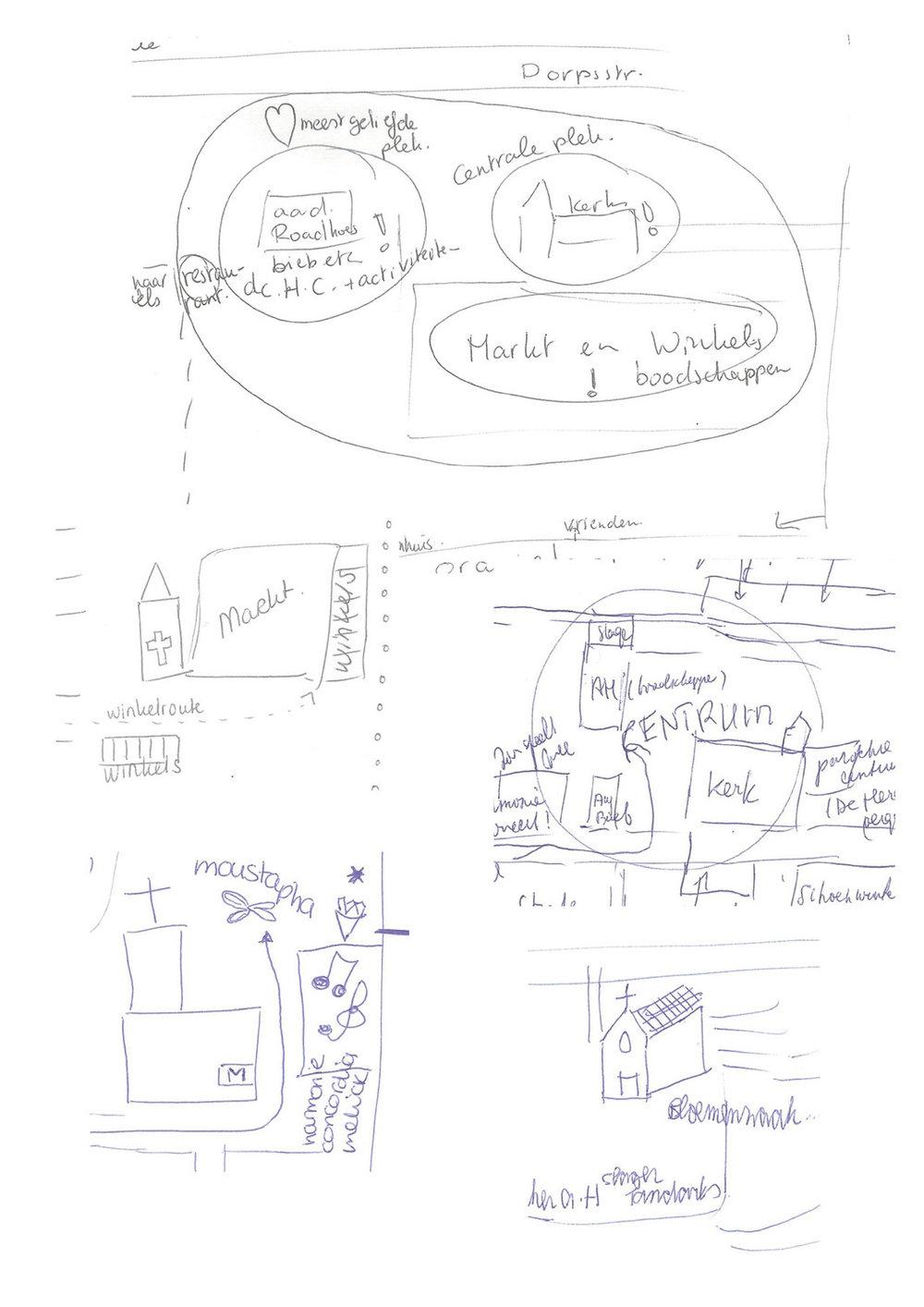 collage van tekeningen van het kerkgebouw op de narratieve kaarten van dorpsbewoners