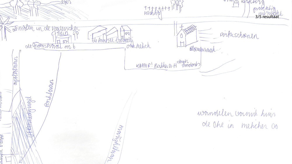 een van de narratieve kaarten met enkele geluidsfragmenten uit de presentatie van de respondent.