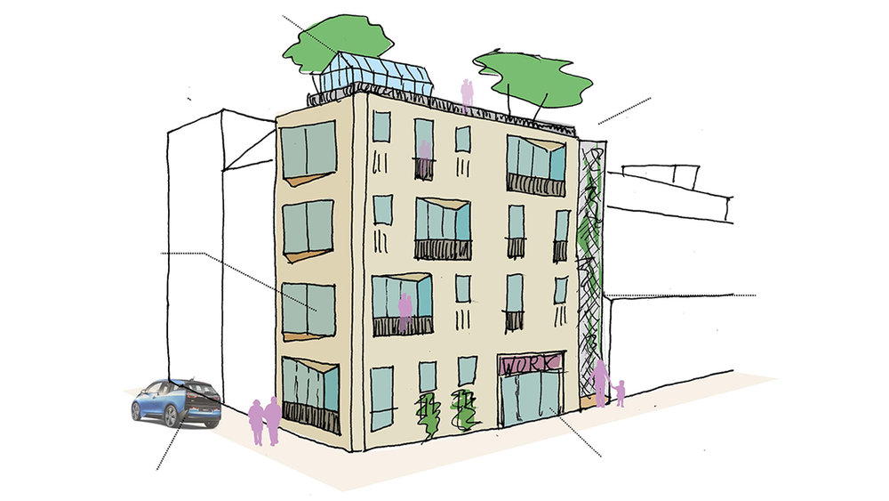sketch design for the infill of an empty plot in a deprived neighborhood in Rotterdam