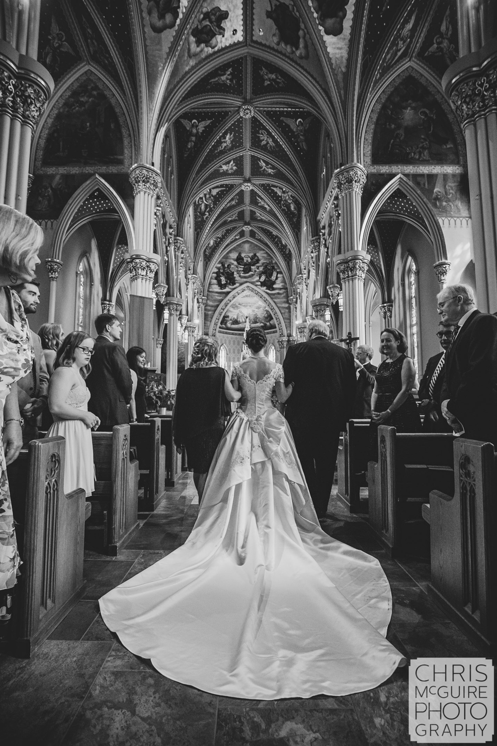 bride back of dress at notre dame basilica
