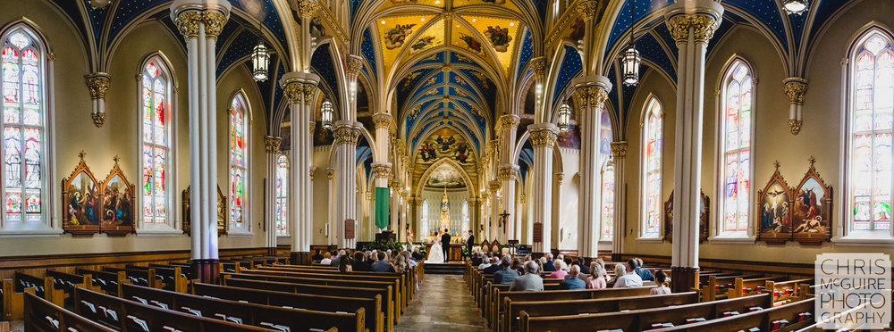 notre dame basilica of sacred heart wedding pano