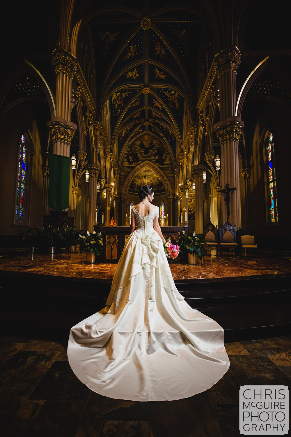 notre dame basilica of sacred heart wedding bridal portrait