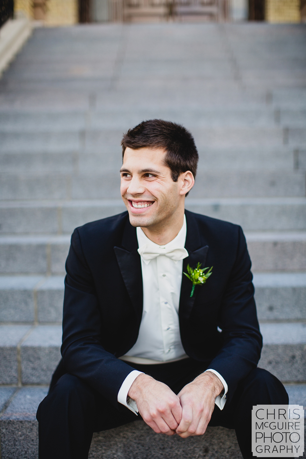 groom on steps