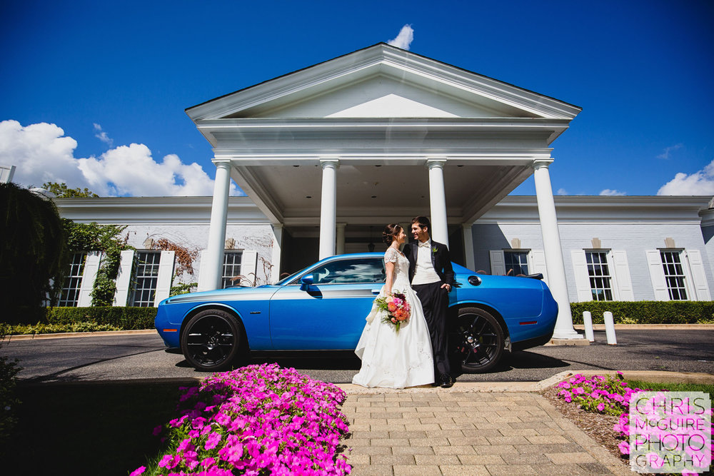 kent country club bride groom with blue sports car