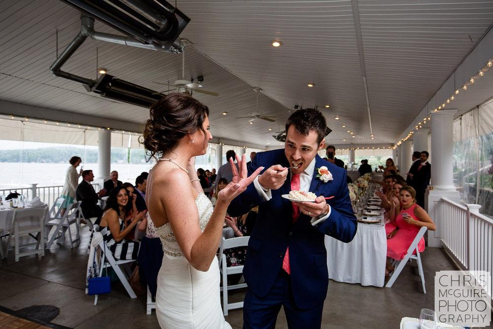 groom eats cake