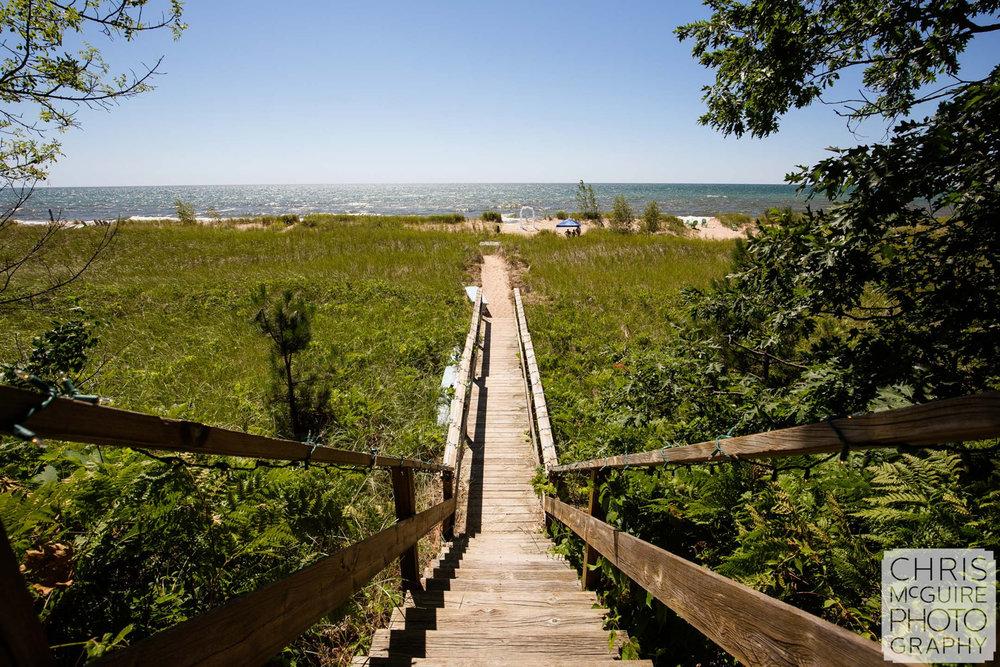 steps down to lake michigan