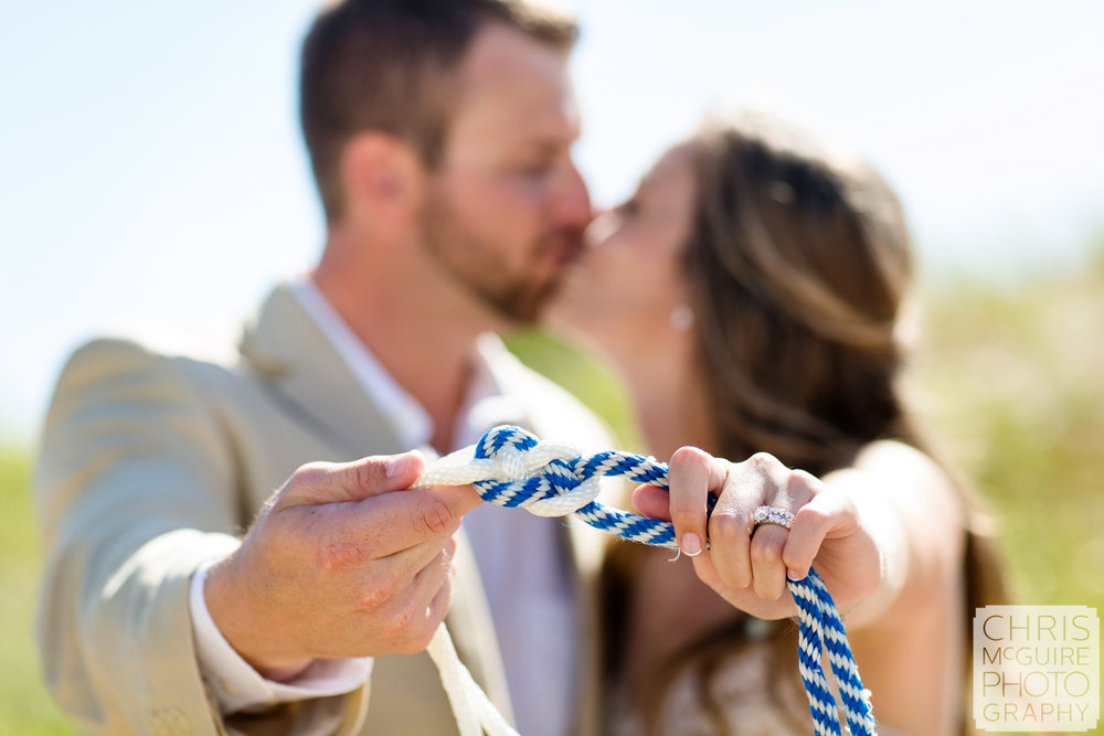 bride groom tie knot with rope