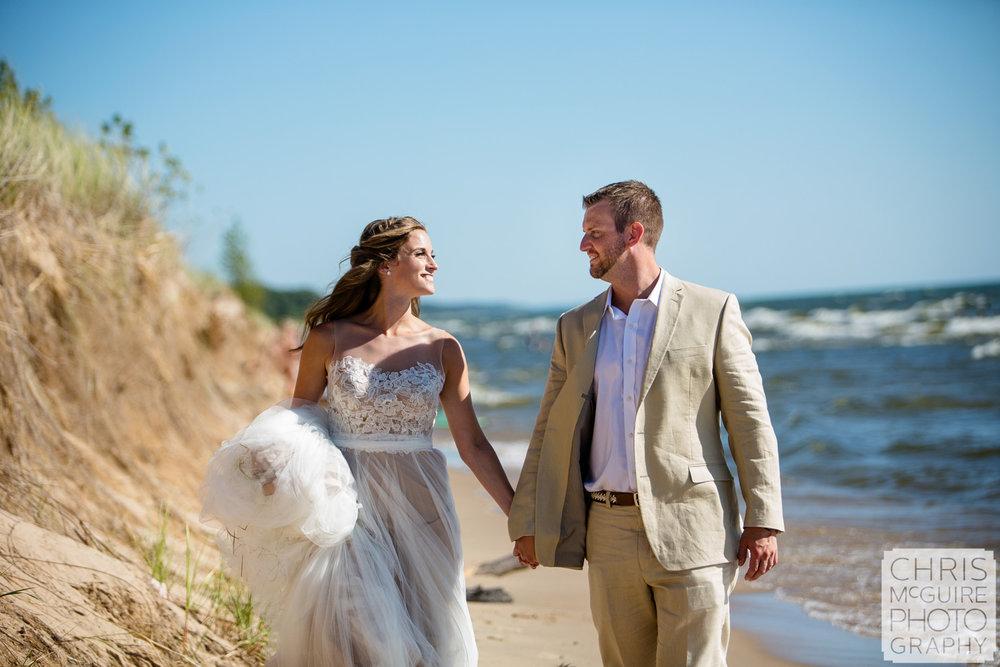 bride groom candid beach portrait