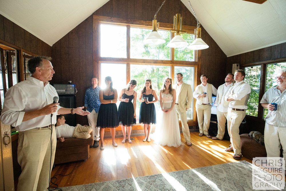 father of bride toast at beach cottage