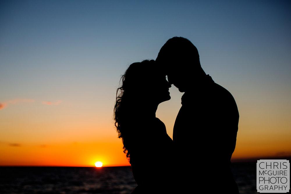 bride groom sunset lake michigan silhouette