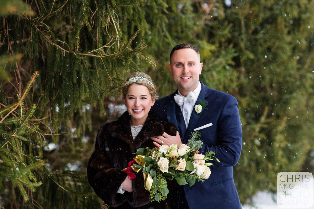 central illinois winter wedding bride groom portrait