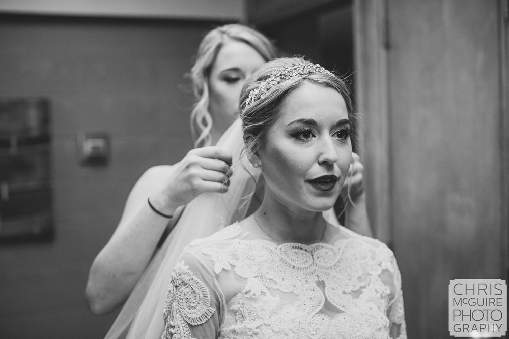bride getting veil