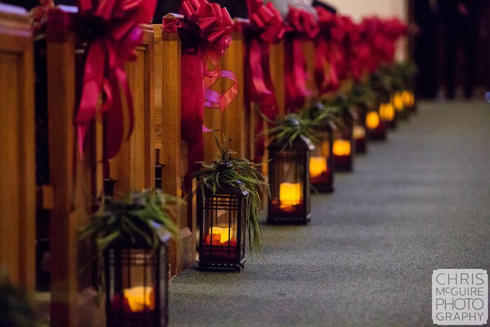 candles along wedding aisle