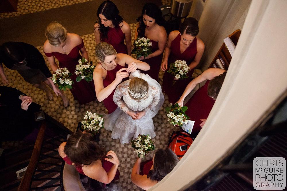 bride getting ready overhead