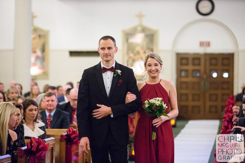wedding party walking down aisle