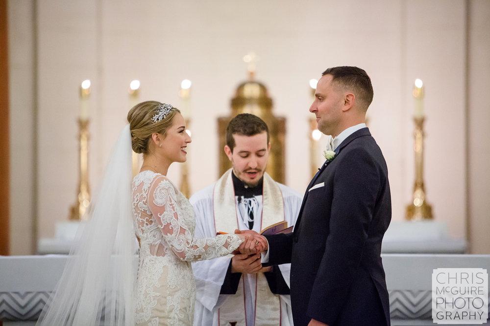 bride groom exchange vows