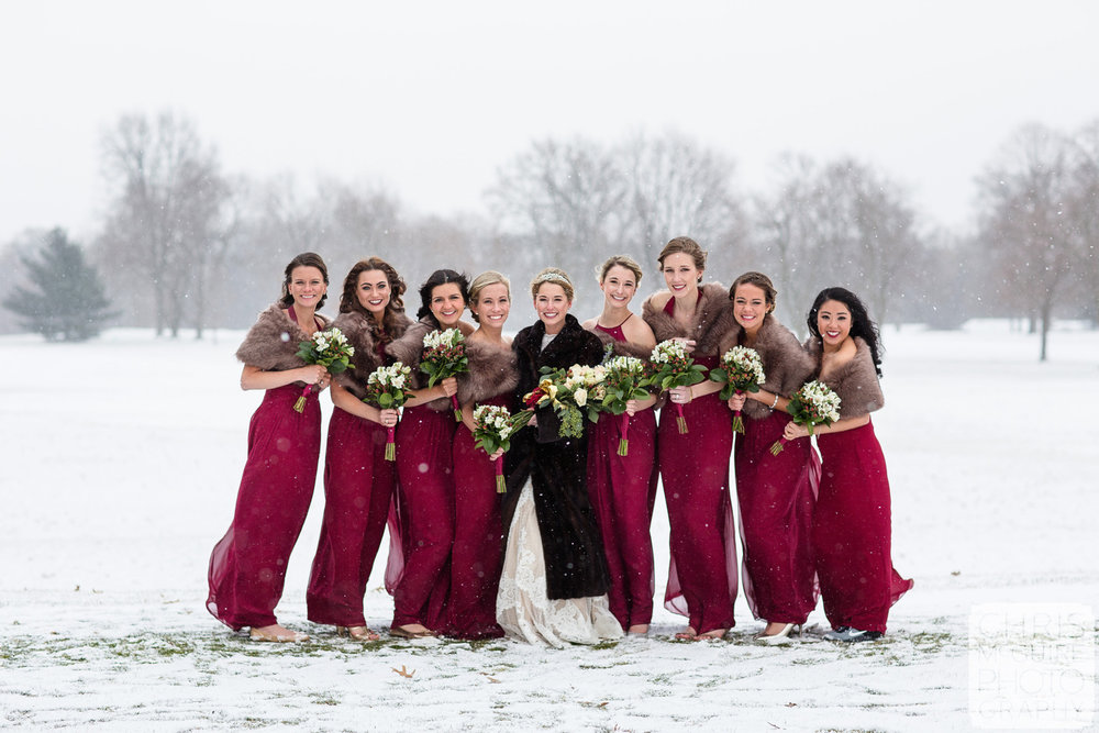 bride and bridesmaids in snow winter wedding midwest
