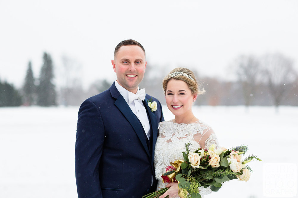 bride groom winter wedding portrait