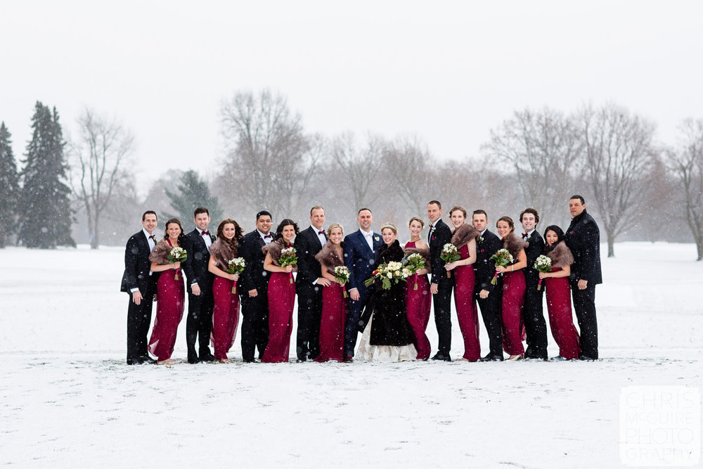 wedding party in snow