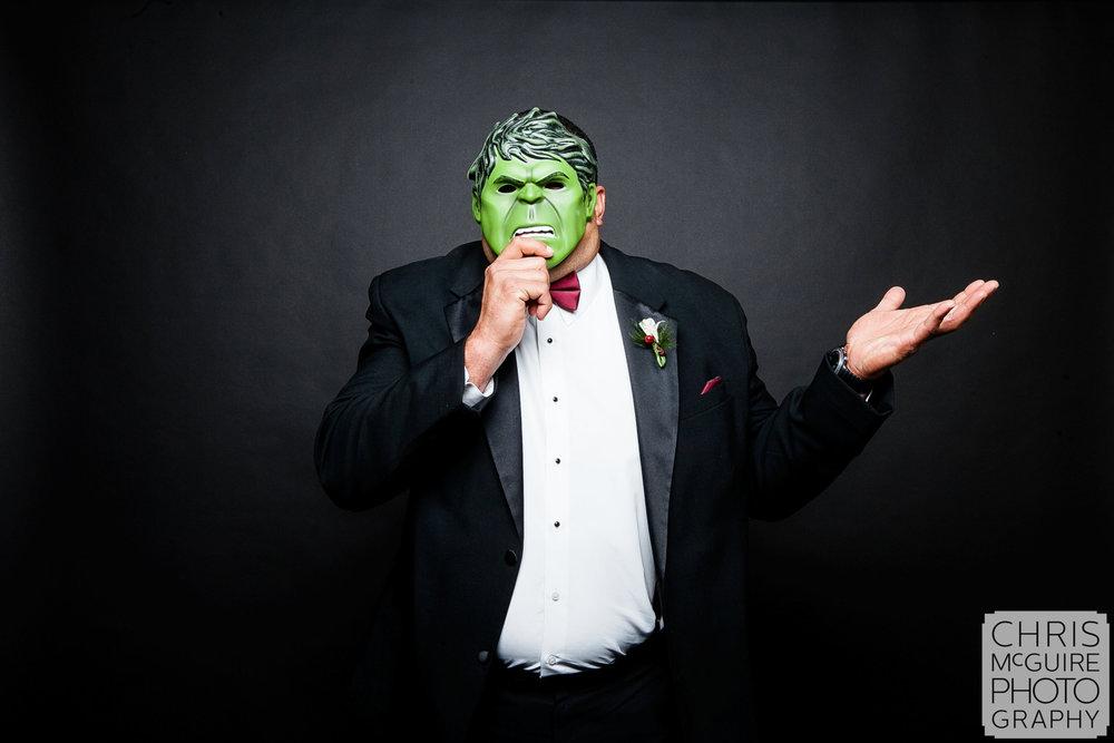 hulk in tux at wedding reception