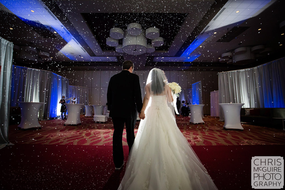 bride groom ballroom snow machine