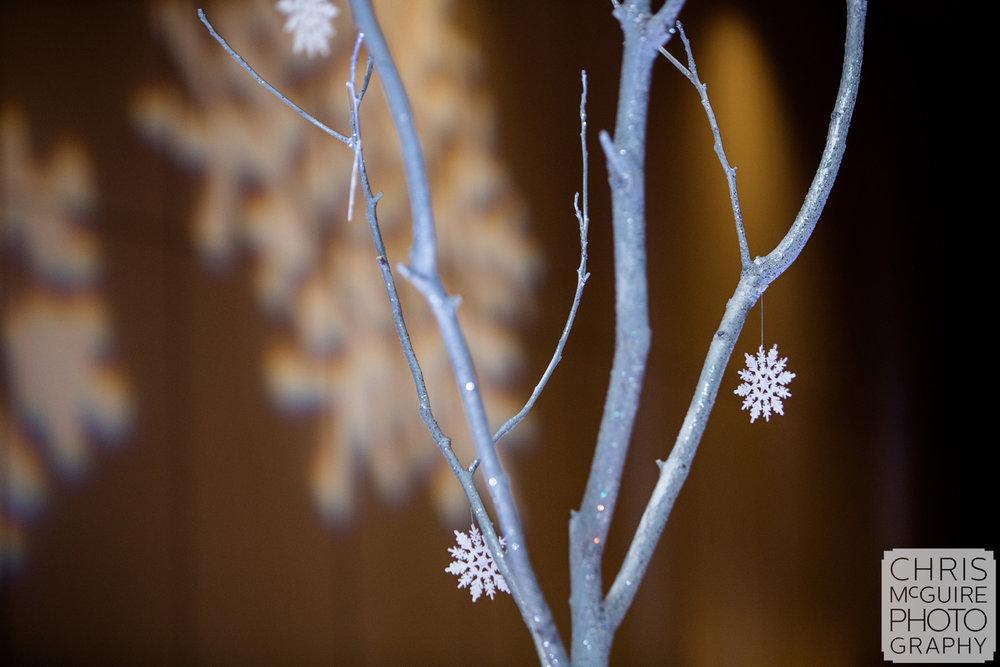 snowflakes on trees winter wonderland wedding