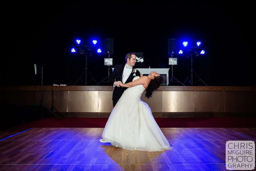 bride groom first dance winter ballroom wedding