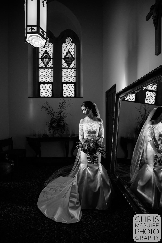 bridal portrait in church