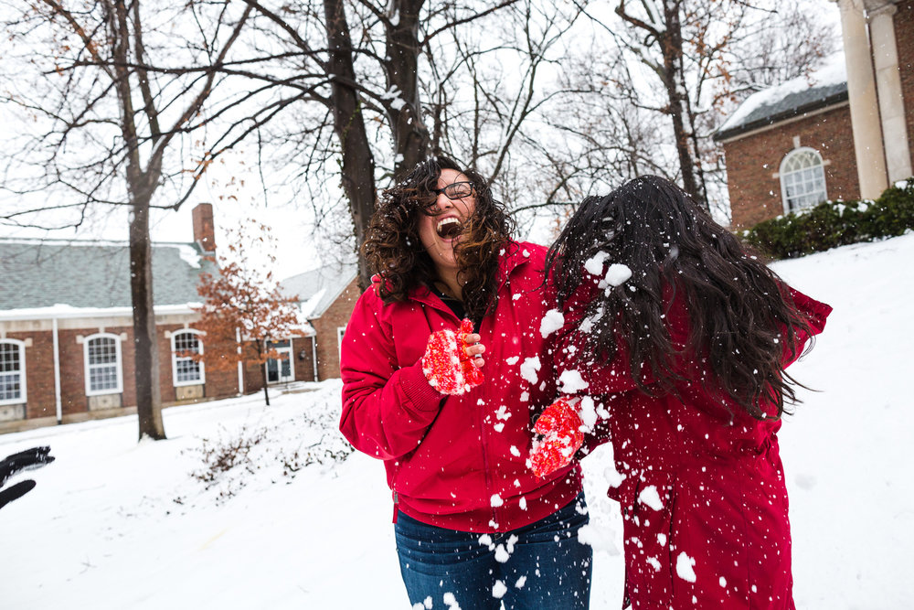 snowball fight on college campus central illinois