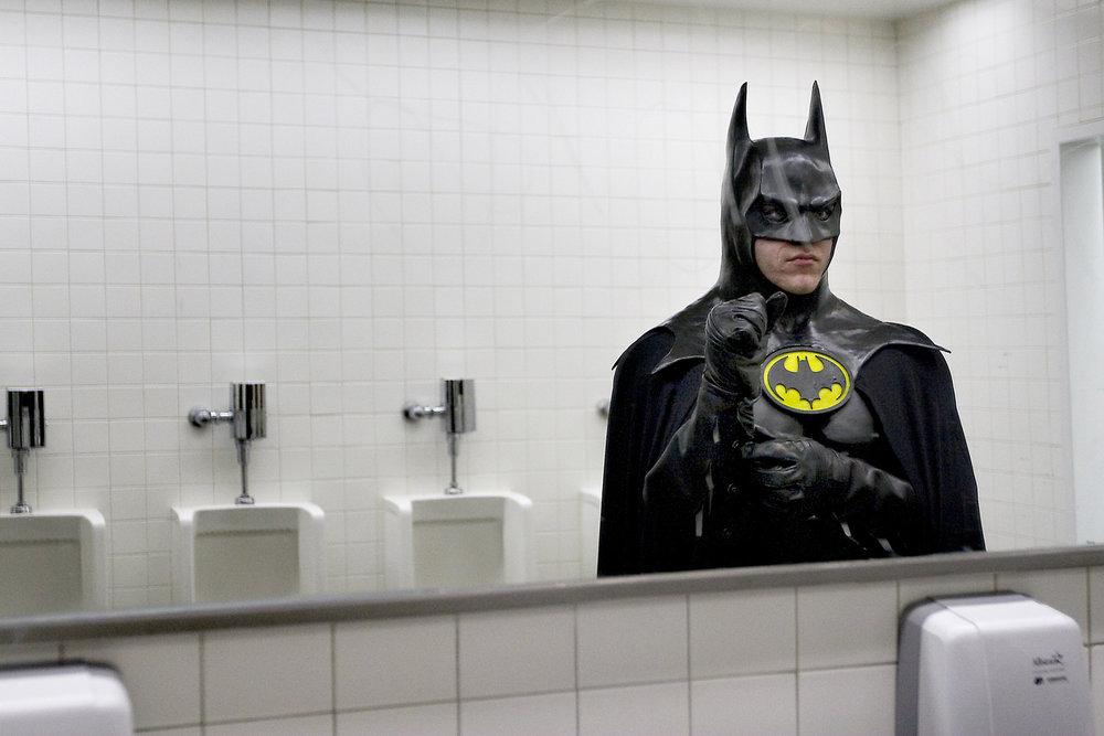 batman in bathroom