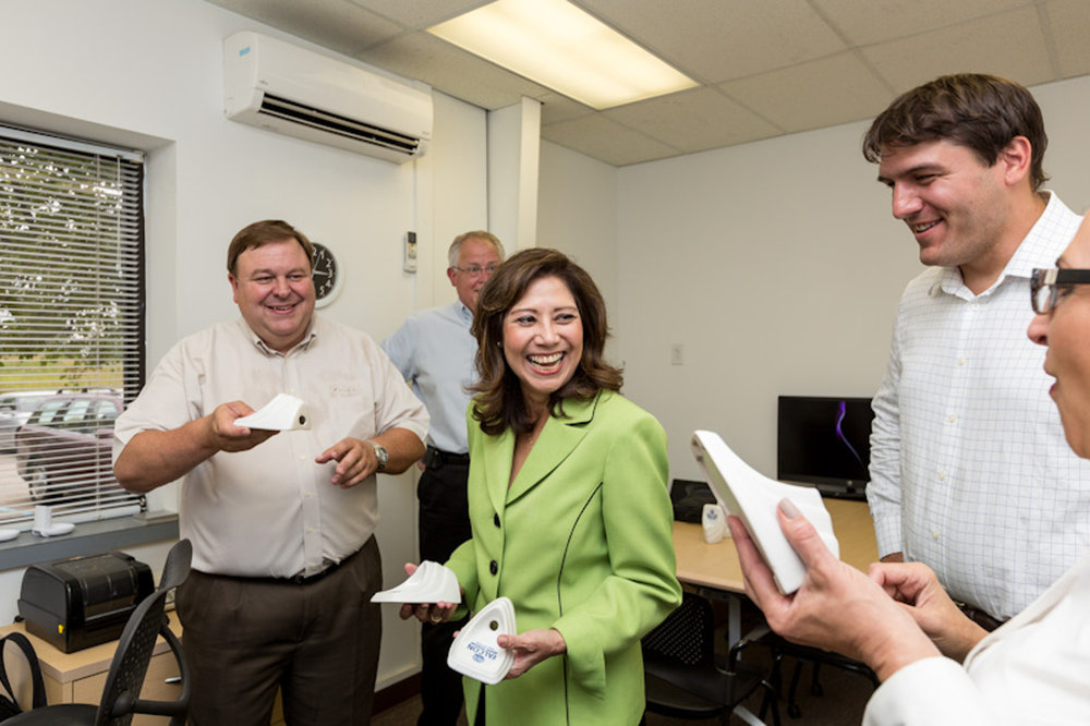 secretary of labor hilda solis tours urinal factory