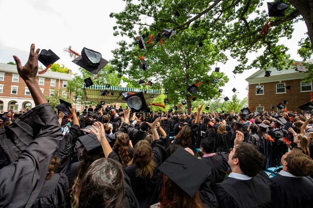 graduation caps flying event photography