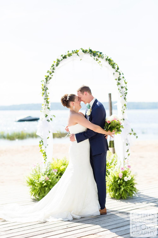 wedding portrait by lake