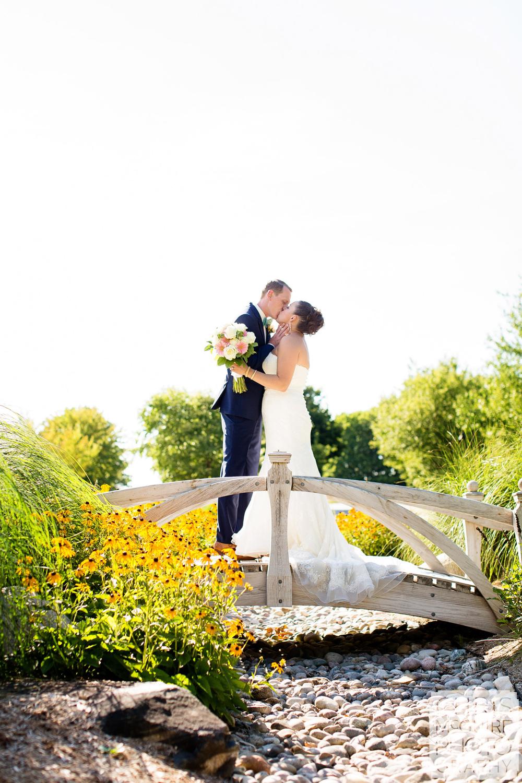 bride groom kiss outdoor wedding central illinois