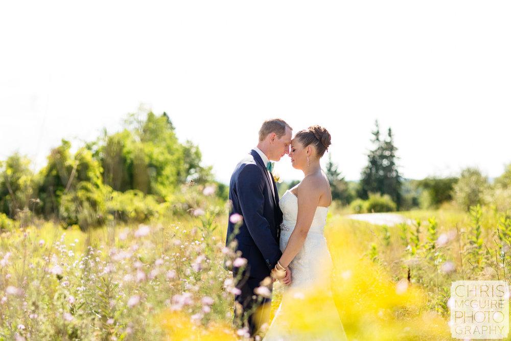 bride groom romantic portrait in field of flowers