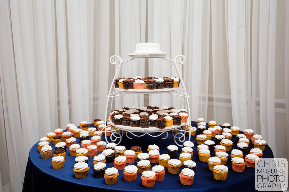 wedding cake table with cupcakes