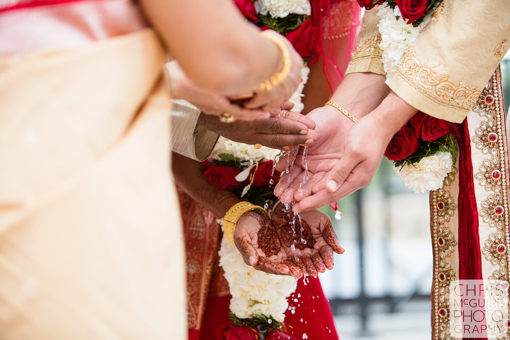indian wedding hands with water flowing
