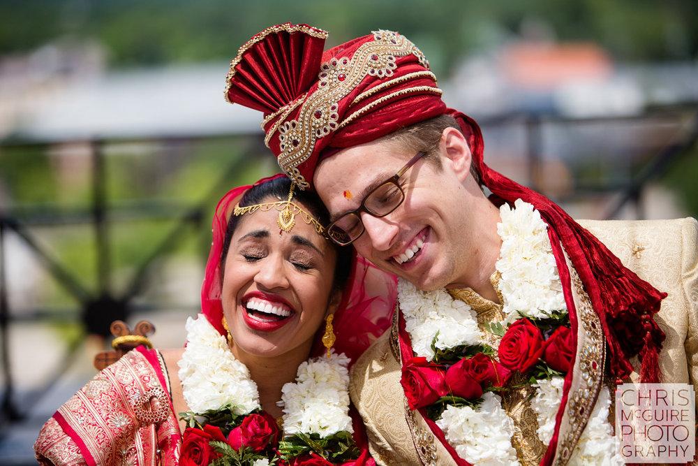 indian bride groom laughing